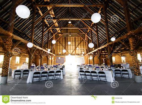 wedding reception  barn stock photo image