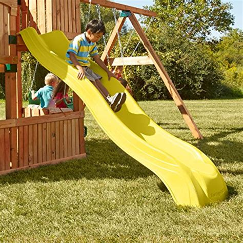 alpine swing set alpine wave slide yellow toys games outdoor play