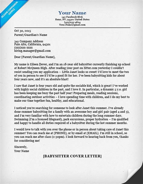 cover letter for babysitting cover letter sle tips resume companion