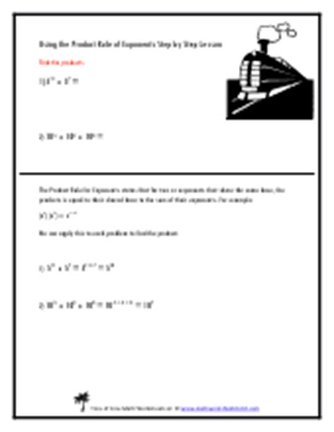 Product Rule Exponents Worksheet by Exponent Product Rule Worksheet Algebra Product Rule