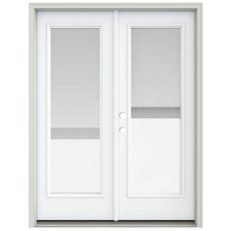 Prehung Patio Doors Jeld Wen 60 In X 80 In Brilliant White Prehung Right Inswing Patio Door With