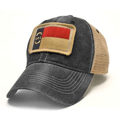 north carolina flag patch trucker hat black