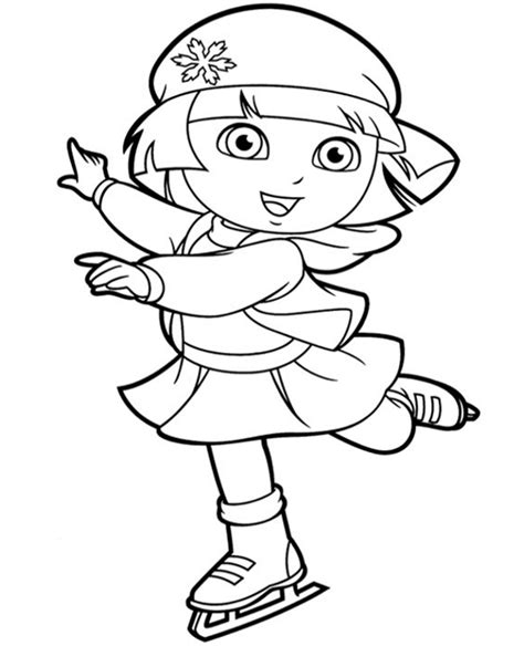 dora coloring pages download dora skating free to print to print or download for free