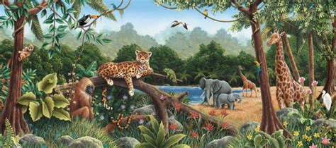 Wizard Of Oz Wall Murals wild animals in rainforest