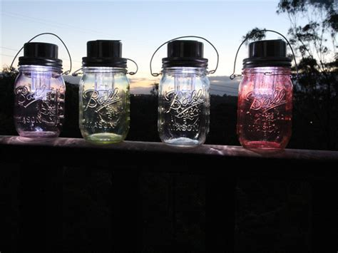 Eco friendly violet stained solar powered Ball Mason jar