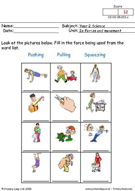 Forces Worksheet by This Science Activity Focuses On The Forces Push And Pull