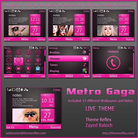 nokia x2 watch themes metro gaga live theme for nokia c3 x2 00 themereflex