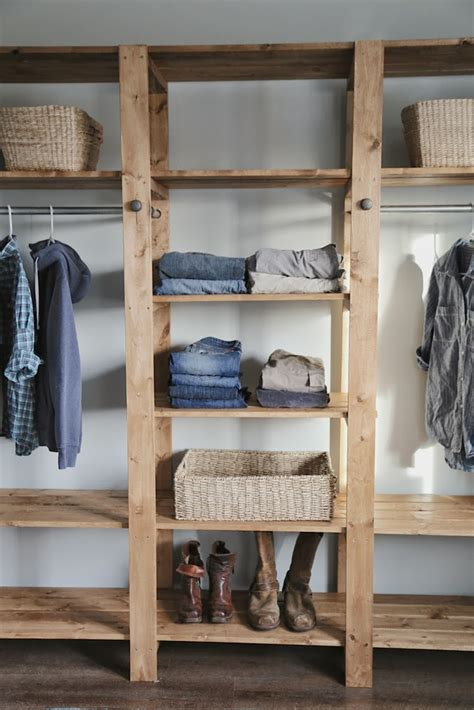 diy industrial style wood slat closet system with