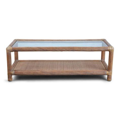 Patio Coffee Table Set Mcguire Rattan Outdoor Patio Set With Sofa Coffee Table And Side Table For Sale At 1stdibs
