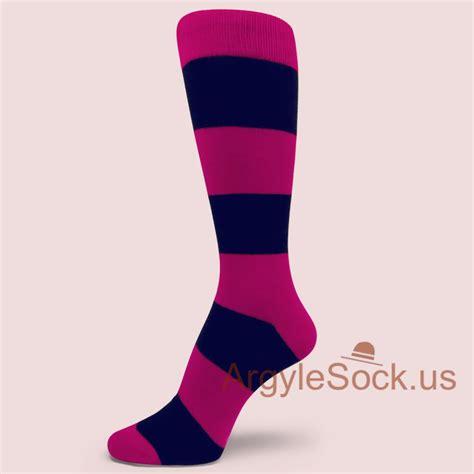pink navy blue wide striped socks for groomsmen