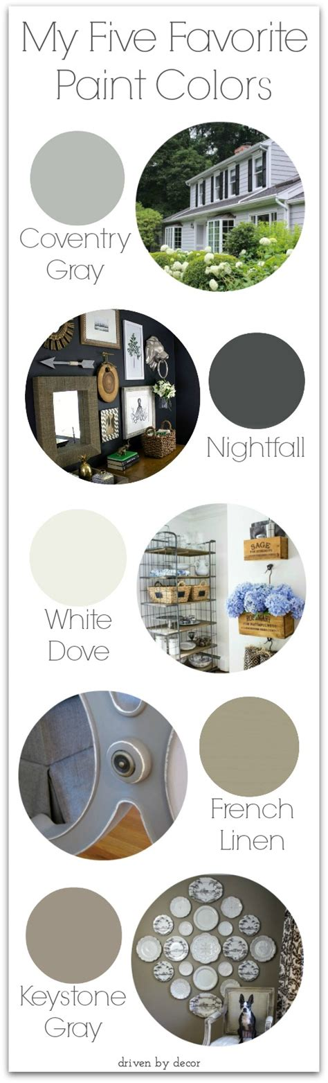 my five favorites paint colors driven by decor