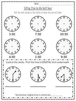 clock worksheets hour and half hour this worksheet goes with the o clock one and asks students