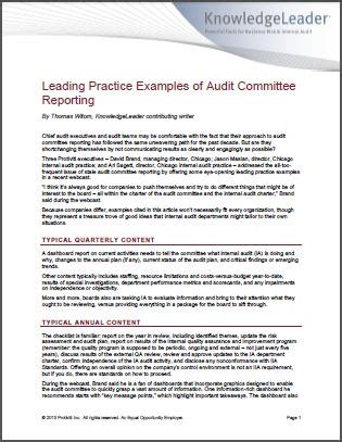 Audit Committee Reporting Leading Practice Exles And Insights Audit Charter Template