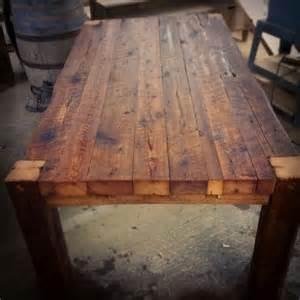 table de cuisine en bois de grange massif de 3po d