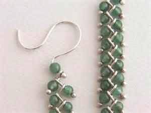 sterling stone bead earrings long dangle earrings green bead