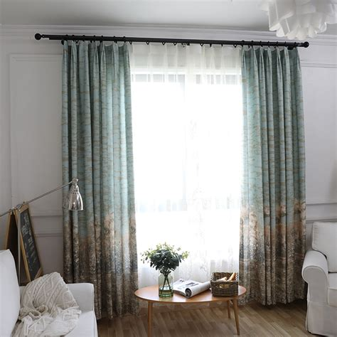 blue patterned floor  ceiling natural curtains