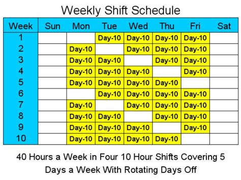 10 hour schedules for 5 days a week 1 4 download