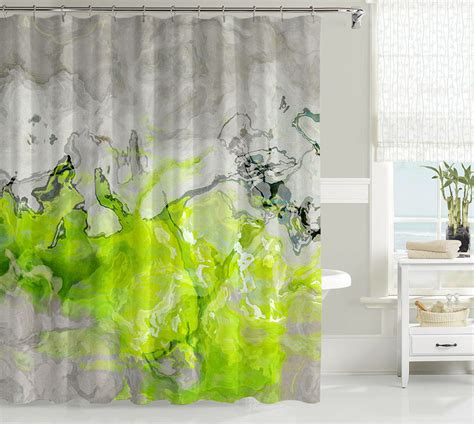 lime green shower curtain contemporary shower curtain abstract art bathroom decor lime