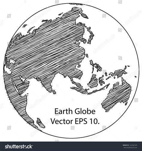 earth map vector world map earth globe vector line stock vector 124342165