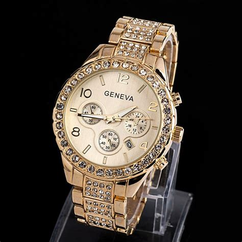 14K Gold Geneva CZ Diamond Watch   Deez Grillz