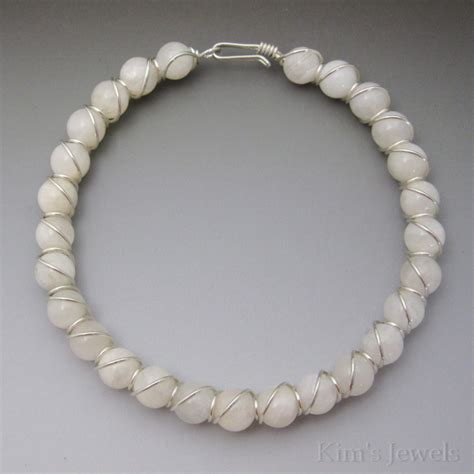 white moonstone sterling silver wire wrapped beaded
