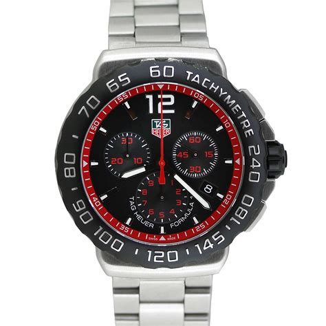 Tag Heuer F1 Silver Brown Leather 1 tag heuer cau1116 formula 1 chronograph f1 ebay