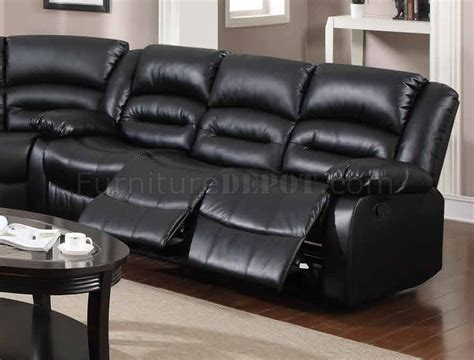 black bonded leather sectional 9241 reclining sectional sofa in black bonded leather w