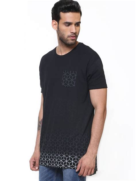 Buy T Shirts In India Buy Brave Soul Gradient Print Longline T Shirt For
