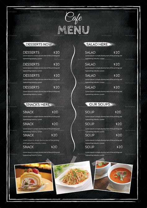 cafe menu design template in psd word publisher