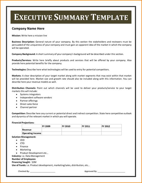 executive summary cover letter 9 executive summary sle financial statement form