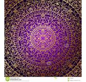 Oriental Purple Background With Gold Ornament Stock Photos