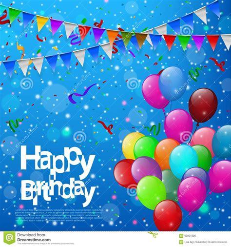 imagenes de happy birthday lisa feliz cumplea 241 os con los globos coloridos en fondo azul