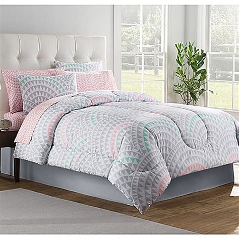 pink and grey comforter sets buy alexa 6 piece twin comforter set in grey from bed bath