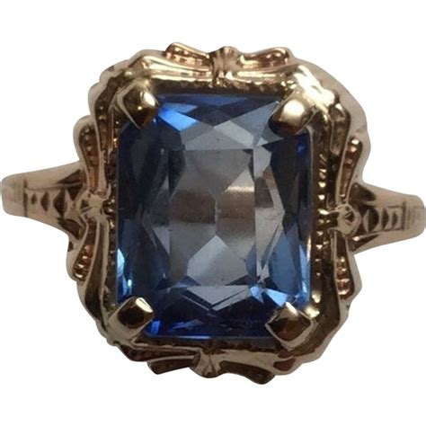 Is This Really A Gold Topaz by Vintage 14k Yellow Gold Blue Topaz Ring Size 8 25