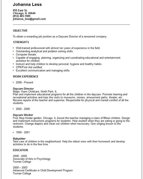 Resume For Child Care by Child Care Provider Resume Template Resume Builder