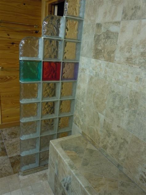 walk in shower with bench seat glass block shower in a rustic log home collins georgia