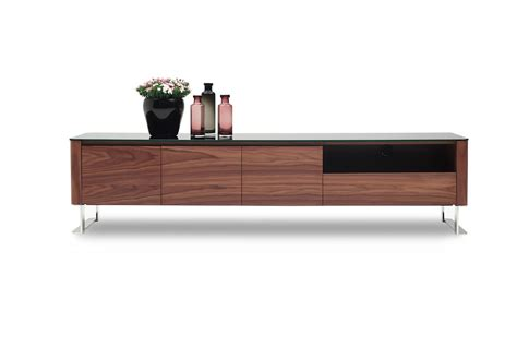 High End Kitchen Cabinets Brands by Walnut And Glossy Black Two Tone Entertainment Tv Stand
