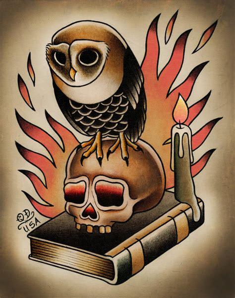 tattoo flash traditional skull owl and skull traditional tattoo print by parlortattooprints