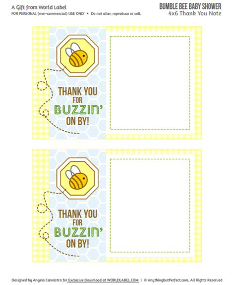 baby shower labels in a bumble bee boys theme worldlabel