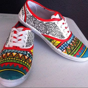 painted shoes aztec tribal from julietamore on etsy