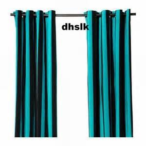 Natvide curtains drapes 2 panels turquoise black velvet striped