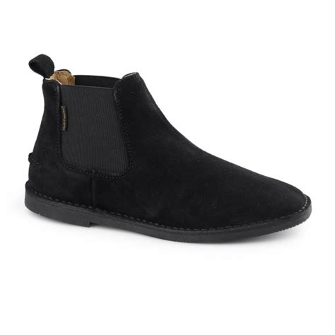 hush puppies selby mens suede chelsea desert boots black