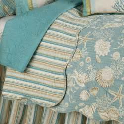 Tropical Themed Quilts - natural shells coastal quilt bedding