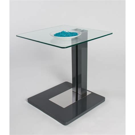 giorgia glass top side table with gloss finish coffee