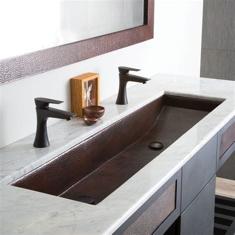 trough two faucets trough 48 double basin rectangular bathroom native