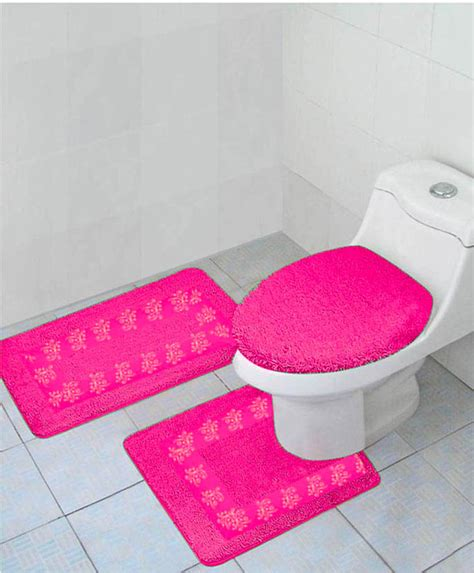 3pc Hot Pink Bathroom Bath Mats Set Rug Carpet Contour Lid Pink Bathroom Carpet