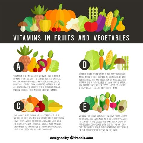 vitamin c vegetables and fruits infographic about vitamins in fruits and vegetables vector
