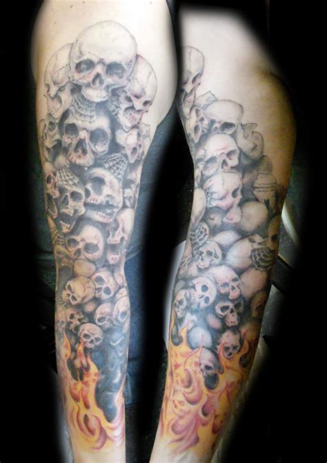 skull sleeve tattoo designs marc tice artist 13thhourtattoos