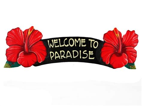 African Home Decor Catalog Welcome To Paradise Red Hibiscus Sign