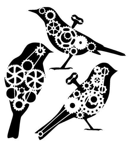 Stencil Machine Gear By 1airbrush steunk cogs bird collection stencil steunk